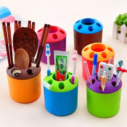 Wholesale Toothbrush Tube - New Creative Toothbrush Holders Portable Porous Desktop Storage Tube Household Necessities Multi-function Toothbrush Box 6 Color HH7-354