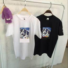 camisas de marcas de nombre Rebajas 2018 estampado de streetwear famoso marca de la marea de la calle denominada camiseta de manga corta Snow Mountain Justin Bieber camisa de deporte al aire libre