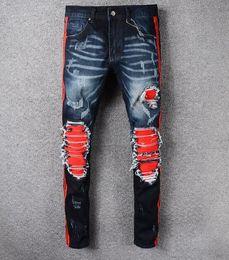 Wholesale harem pants zippers - Men's Distressed Skinny Jeans Fashion Designer Mens Shorts Jeans Slim Motorcycle Moto Biker Causal Mens Denim Pants Hip Hop Men Jeans#1118