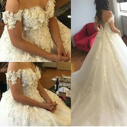 Wholesale Long Puffy Corset Dresses - 2018 Ball Gown Wedding Dresses Off Shoulder Lace Appliques Beads 3D Flowers Puffy Corset Back Vestido Backless Long Plus Size Bridal Gowns