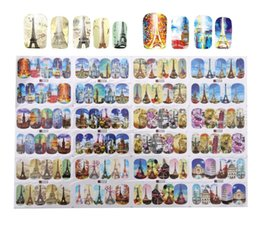 Листовое здание онлайн-1 Лист Nail Art Переноса Воды Стикер Здание Стиль Эйфелева Башня Небо Церковь Шаблон Наклейки Полное Покрытие Гель Польский Советы Наклейки