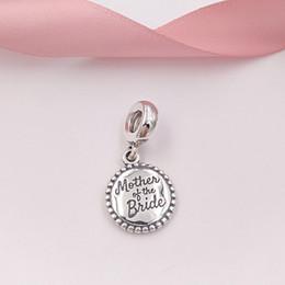 2019 gravure en bracelet 925 Authentique en argent Sterling 925, mère de la mariée gravée Dangle Pendentif Charms Convient Européenne Pandora Style Bijoux Bracelets Collier
