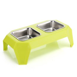 Wholesale Pet Food Containers - Stainless Steel Dog Bowl Rectangle Pet Feeder Plastic Cat Bowls Desk Shape Puppy Food Container for Dogs Pet Products 3 Colors