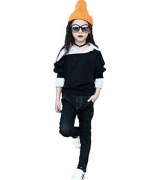 Camicia collare nera online-Camicette per bambina con colletto a righe Camicia a maniche lunghe in patchwork Moda bambina bambina Abbigliamento primavera Camicie per ragazze Top nero