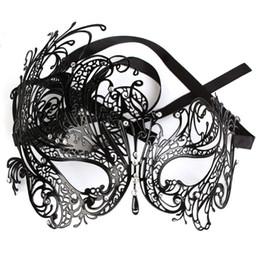 Wholesale Masquerade Masks Laser Cut - Sexy Venetian Masquerade Princess Mask Rhinestone Laser Cut Black Metal Women Party Ball Free Shipping