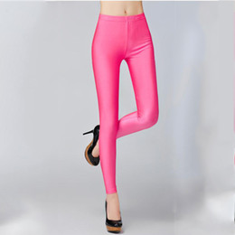 d032f23fe66 21 Colors Plus Size Fluorescent Color Women Leggings Elastic Leggings  Spandex Multicolor Shiny Glossy Leggins Trousers For Girl