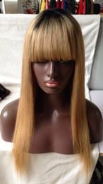 Wholesale Blonde Straight Bangs Wig - T1B 27# honey blonde Virgin human hair cheap eurasian Silky Straight cheap ombre hair Full Lace Wig With Bangs