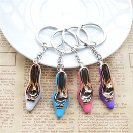 Wholesale Heels Pendant - Women Shoe Gold Plate Acrylic Key Ring Candy High Heeled Keychains Purse Pendant Bags Cars Colorful Creative Keys Charms 0 75xq Z