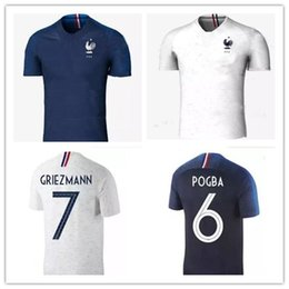 Wholesale France T Shirt - New 2018 France World Cup jerseys POGBA GRIEZMANN PAYET KANTE Mbappe Football t shirts 18 19 France National Team home away Soccer Jerseys