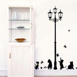 Adesivi da muro di compleanno online-Camera dei bambini Sfondo Adesivi murali Gattino nero Lampione per bambini Carta regalo compleanno Carta da parati Home Decor Sticker Decorazione Art 1 6hs Ww