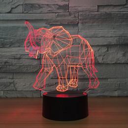 luzes noturnas por atacado de elefantes Desconto Elefante 3D Ilusão Night Lamp 3D Lâmpada Óptica 5a Bateria USB Powered 7 RGB Luz DC 5 V Atacado Frete Grátis