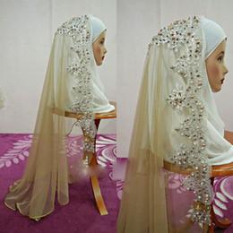 véu de mantilha Desconto Marfim branco Véus De Noiva Muçulmano Applique Lantejoulas Pérolas Comprimento Do Ombro Véu Do Casamento Velo Acessórios Mantilla Com Pente Frete Grátis