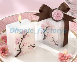 Wholesale Cherry Wedding Favors - 100pcs Wedding Candles Smoke-free Scented Wax Cherry Blossoms Candle Wedding Present Gifts Favors Party Decoration JF-890
