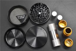 2019 aleación de metal negro 1pcs Black Silver Space Case Grinder Herb Grinder Aleación de aluminio Metal Grinders 4 Capa 63cm Diámetro con prensador de prensa de polen rebajas aleación de metal negro
