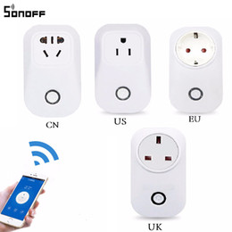 Wholesale Wireless Outlet Plug - Sonoff S20 EU UK US Plug Wifi Power Socket Switch Wireless APP Remote Socket Outlet Timing Switch for Smart Home Work with Alexa 30pcs