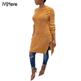 2021 втулки для свитера Long Sweater Dress Long Sleeve Round Neck Autumn Winter Warm Women Pullovers Sweater Hole Sexy Side Split Lace Up Women Sweaters