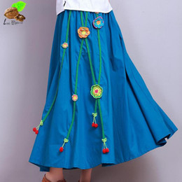 Wholesale Linen Cotton Skirts - Women National Wind Vintage Floral A-line Appliques Ankle-length Natural Skirts Chinese Style Cotton Linen Retro Flowers Skirt