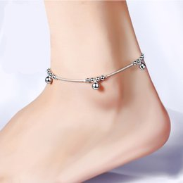 Wholesale Korea Stainless Steel Jewelry - Korea Silver Plated Rope Chain Ankle Bracelet Barefoot Beach Girls Anklets Ball Sandal Beach Foot Jewelry for Women Free shipping& Wholesale