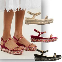 3d191b9b0e2 Luxurious Pyraclou 60mm Platfrom Flats Espadrilles Woven Lady Wedges  Sandals Ankle Strap Studs Red Bottom Sexy Lady Women Dress Party Weddin
