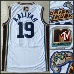 Wholesale Black Jock - 19 Aaliyah Bricklayers 1996 MTV Rock N Jock Jersey Movie Jersey 100% Stitched Embroidery Logo Fashion Wholesales Lowest Price Free Shipping