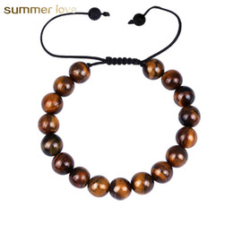 2018 New Arrival Tigers Eye Adjustable Size Woven Rope Bracelet For Men Lover 10mm Lava Rock Beads Stone Brecelet Jewelry Gift