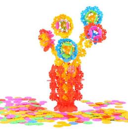 Schneeflocken puzzle spielzeug online-Mit Anweisungen 200 Stücke 3D Puzzle Kunststoff Schneeflocke Bausteine Gebäude Modell Puzzle Lernspielzeug Für Kinder