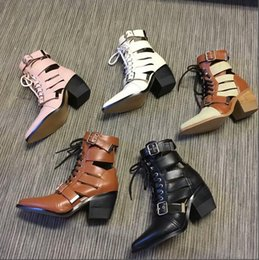 58f51ec18729 2018 Autumn newest pointed toe letaher ankle boots woman celebrity buckle  strap lace-up high heel shoe cutouts riding boots