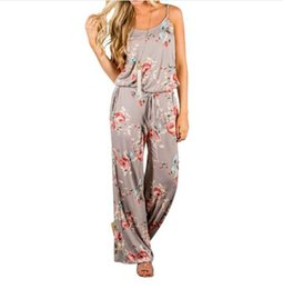 Wholesale Kawaii Pants - 2018 New Kawaii Floral Jumpsuit Fashion Women Spaghetti Strap Long Playsuits Casual Beach Long Pants Jumpsuits Overalls Pockets GV736