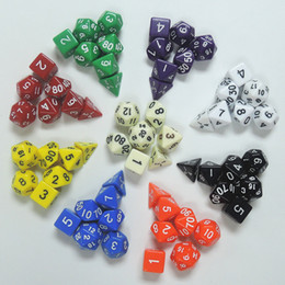 Wholesale Marbles Games - High Quality Outdoor KTV Fun 7pc Set Dice Multi-Sided Dice with Marble Effect d4 d6 d8 d10 d10 d12 d20 Polyhedral Dice Game 9 Color