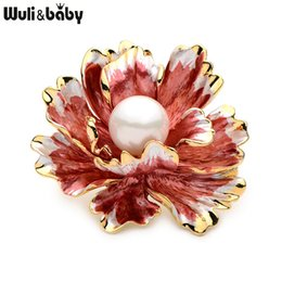 baby brooch flower Promo Codes - Wuli&Baby Red Peony Flower Enamel Brooches Women Men's Metal Simulated Pearl Elegant Flower Party Banquet Weddings Brooch Gifts