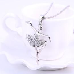encanto de moda collares chapados en plata fantasía colgante de cristal collares ángel bailarín de ballet chica collar de joyas para mujeres desde fabricantes