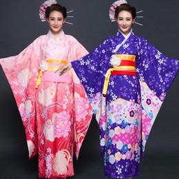 trajes femininos cômicos Desconto Feminino Traje Cosplay Japonês Tradicional Kimono Floral Vestido de Noite Comic Perfoemance Robe Vestido Senhora Roupão De Banho Camisola