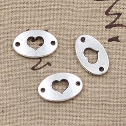 Wholesale Bracelets Connectors Charm Heart - whole sale8pcs Charms heart connector 13*20mm Antique Making pendant fit,Vintage Tibetan Silver,DIY bracelet necklace