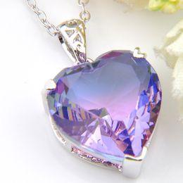 2020 gemas de casamento roxas Atacado 12 pcs Luckyshine Holiday Gift amor do coração roxo Tourmalin Gem Banhado a Prata Mulheres casamento colares Com Corrente gemas de casamento roxas barato