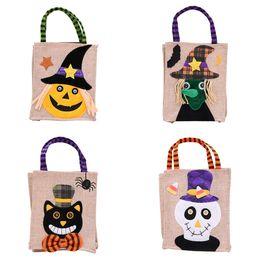 2019 tote gato de dibujos animados Halloween Tote Christmas bags calabaza de dibujos animados bruja Cráneo gato negro Bolsos niños dulces Regalos Bolsas 26 * 15 cm C5063 tote gato de dibujos animados baratos