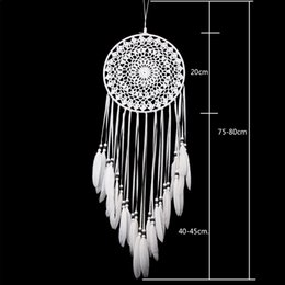 Wholesale White Craft Feathers - New Handmade Lace Dream Catcher Circular With Feathers Wall Hanging Decoration Ornament Craft Gift Crocheted White Dreamcatcher Wind Chimes
