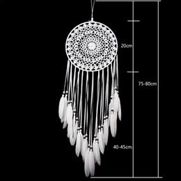 Deutschland Neue handgemachte Spitze Traumfänger Circular mit Federn Wand hängende Dekoration Ornament-Fertigkeit-Geschenk Gehäkelte Weiß Traumfänger Wind Chimes Versorgung