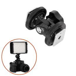 Wholesale Adjustable Monitor Mounts - Adjustable Dual Hot Shoe Adapter Bracket Holder Mount For DSLR Camera LED Flash Light Monitor Photography Studio Mount Bracket