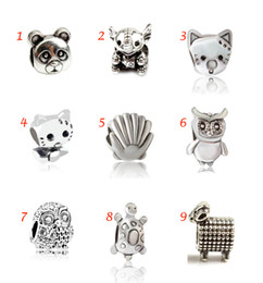 Wholesale Pandora Turtle Charm - Panda Elephant Cat Sea Shell Night Owl Turtle Sheep Animal European Silver Charms Beads Fit for Friend Girls Pandora Bracelet Cuff Wholesale