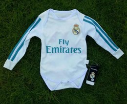 Wholesale Fans Clothing - 2017 2018 New Real Madrid Baby soccer Jersey Cotton Long Sleeved Jumpsuit Baby Triangle Climb Clothes Loveclily 17 18 baby's fans Long shirt