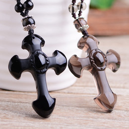 Wholesale Mens Jewelry Beads - Natural Obsidian Cross Adjustable Bead Chain Pendant Fashion Gift Mens Jewelry Womens Pendant Crystal Personality Pendant Wholesale
