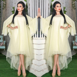 Wholesale long loose sleeve gold dress - Saudi Arabic Light Yellow Prom Dresses Lace Loose Sleeves High Low Evening Gowns Dubai Tulle Layered Formal Party Dress Vestidos