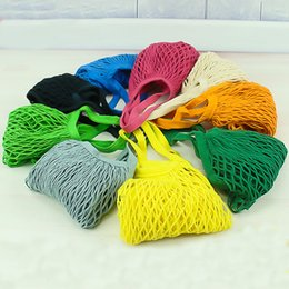 Wholesale door string - Multifuction Fruits Vegetable Foldable Portable Shopping Bag String Cotton Mesh Pouch For Sundries Juice Storage Bags Hot Sale 4 5jz Z