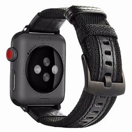 correa de reloj de manzana 42mm Rebajas 2018 New Cool JP Nylon y correa de reloj de cuero Aplicable a Apple Watch Buckle Broche 38mm / 42mm Reemplazo