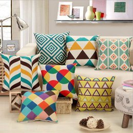 Wholesale Print Design Throw Pillows - Geometric Pattern pillow Case Nordic Linen decorative pillow cover throw cushion covers for car home decoration 8 designs YW268