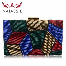 Wholesale Hot Fix Designs - Natassie New Design Women Evening Bags Two Side Crystal Party Bag Hot-fix Clutch Charmeuse Purses Female Wedding Clutches