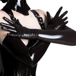 aquecedores de mão sem dedos Desconto Preto Adulto Sexy Longo Luvas De Látex Clubwear Sexy Catsuit Ladies Hip-pop Fetiche Luvas De Couro Faux Cosplay Trajes Acessório