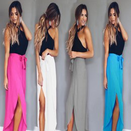 Wholesale Long White Straight Skirt - 2018 New Fashion Women Long Maxi Skirt High Waist Summer Lady Casual Solid 4Colors Pleated Boho Beach Skirt Size S-XL