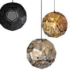 aguafuerte de acero inoxidable Rebajas Poliedro moderno de acero inoxidable Luces colgantes geométricas Tom Dixon punch ball Etch lámpara colgante tienda de moda cafe NO7