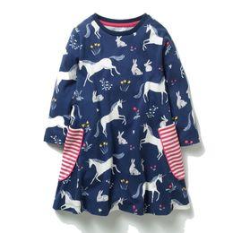 Wholesale girls long dresses for kids - Kids Dinosaur Unicorn Flowers Printed Princess Dress Long Sleeve Baby Girls Dress 2018 New Kids Tunic Jersey Dresses for Girls Clothes